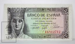 Spain/ España 5 Pesetas/ Ptas Spanish Banknote - Issued 1943, I Series - AU Quality - 1-2 Pesetas