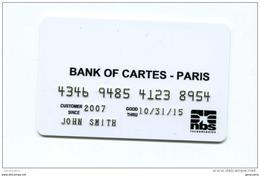 """Spécimen Prototype Essai De Carte De Crédit Avec Numéro En Relief """"Bank Of Cartes - Paris"""" Carte Bancaire - Bank Card - Cartes De Crédit (expiration Min. 10 Ans)"""