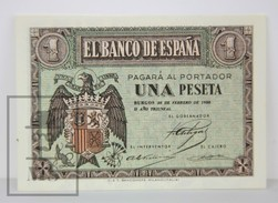 Spain/ España 1 Pesetas/ Ptas Spanish Banknote - Issued 1938, F Series - AU Quality - [ 3] 1936-1975 : Régence De Franco