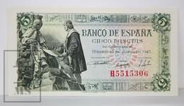 Spain/ España 5 Pesetas/ Ptas Spanish Banknote - Issued 1945, H Series - UNC Quality - [ 3] 1936-1975 : Régimen De Franco