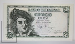 Spain/ España 5 Pesetas/ Ptas Spanish Banknote - Issued 1948, L Series - UNC Quality - [ 3] 1936-1975 : Régimen De Franco