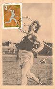 D31618 CARTE MAXIMUM CARD 1966 POLAND - ATHLETICS THROWING JAVELIN CP ORIGINAL - Athletics