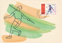 D31619 CARTE MAXIMUM CARD 1968 POLAND - ATHLETICS THROWING JAVELIN OLYMPICS CP ORIGINAL - Athletics