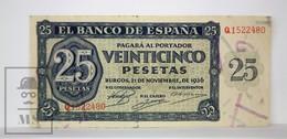 Spain/ España 25 Pesetas/ Ptas Spanish Banknote - Issued 1936, A Series - EF Quality - [ 3] 1936-1975 : Regime Di Franco