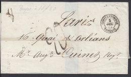 TURQUIE -Pli De Constantinople Du 5 Décembre 1854 Pour Paris En Port Dû, Taxes Manuscrites 8 + Cachet 20 Décimes. B/TB - Turkey