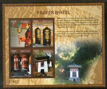 Bhutan 2017 Prayer Wheel Buddhist Cuture Religion Temple Flag Sheetlet MNH # 9353 - Buddhism
