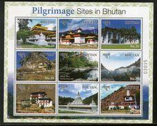 Bhutan 2017 Buddhism Pilgrimage Sites Tourism Architecture Sheetlet MNH # 9670 - Buddhism