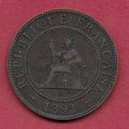 Indochine - 1 Centime - 1892 - Monnaies