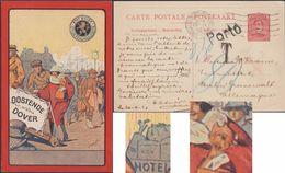 Belgique 1921. Entier Postal 30 C, Tarif étranger 1er Mars 1921. Taxé Par Erreur ?? Clubs De Golf, Paquebot, Yorkshire - Lettere