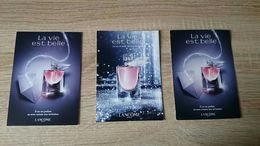 LOT DE 3 CARTES PARFUMEES LA VIE EST BELLE De LANCOME - VIDE = UTILISÉ - Cartas Perfumadas
