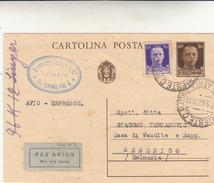 Trieste Per Sebenico, Dalmazia. Cart. Intero Postale Espresso Par Avion 1942 - Interi Postali