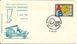 Argentina Cover Santa Fe 6-7-1990 80 Años De Los Bomberos Y Zapadores Santa Fe With Special Cachet And Postmark - Argentina