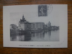 """"""" Réédition Cartes D'autrefois """" Corbeil , Vue Sur Le Pont De Corbeil , Les Moulins , La Mairie - Corbeil Essonnes"""