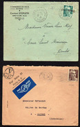 """21FRANCE: Bon Lot De 5 Lettres Au Type Gandon """"seul Sur Lettre"""" Entre N° 713 Et 721 - Storia Postale"""