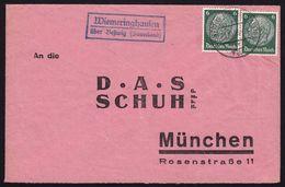 """Landpoststempel """"Wiemeringhausen über Bestwig (Sauerland)""""  Fernbrief 1936 - Marcophilie - EMA (Empreintes Machines)"""