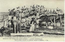 CONGO PORTUGAIS -  Tout Le Monde Travaille à La Mission, Surtout Les éléphants -  Ed. L L - Cartes Postales