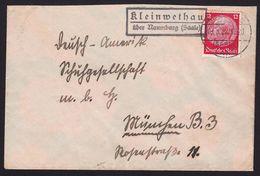 """Landpoststempel  """"Kleinwethau über Naumburg (Saale)""""  Fernbrief 1935 - Marcophilie - EMA (Empreintes Machines)"""