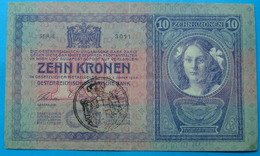 FIUME - RIJEKA 10 KRONEN ND 1918 (OLD DATE 1904), ITALY, CROATIA, AUSTRIA, HUNGARY, SEAL ON OBVERSE, ORIGINAL SEAL, RARE - Croatia
