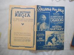 SOUVENIR D'UN JOUR SLOW FOX LES AVENTURES DE CASANOVA GEORGES GUETARY 1947 PAROLES JEAN BOYER MUSIQUE RENE SYLVIANO - Partituren