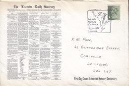 Great Britain Ersttags Brief FDC Cover 1974 The Leicester Daily Mercury Newspaper Zeitung Journal 3½ P. QEII - 1971-1980 Dezimalausgaben