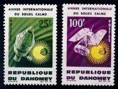 Dahomey Benin 1964 International Quiet Sun Year Satellite Space Celebrations Stamps MNH Michel 244-5 SG#216-7 SC#196-7 - Benin - Dahomey (1960-...)