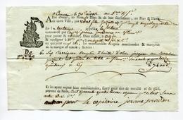 !!! CONNAISSEMENT DE CANNES PERIODE REVOLUTIONNAIRE CHARGEMENT HUILE D'OLIVE - Vieux Papiers