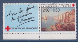 = Croix Rouge Française 1991 Toulon Vue Du Port N°2733a Avec Vignette Oblitéré - Frankreich