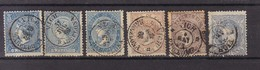 Año 1866-70  Edifil 81-88-96-98-107 4c Y 50m  Isabel II T Alegoria 6 Sellos Matasellos   Vich Barcelona Tipo II - 1868-70 Übergangsregierung