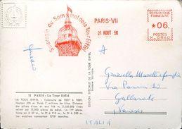 25744 FRANCE,red Meter/freistempel/ema/ 1956 Paris Souvenir Du Sommet De La Tour Eiffel, Circulè - Marcophilie (Lettres)