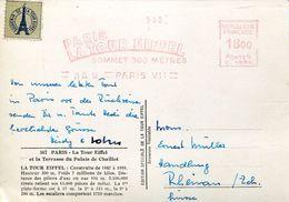 25745 FRANCE,red Meter/freistempel/ema/ 1951 Paris Souvenir Du Sommet De La Tour Eiffel, Circulè - Marcophilie (Lettres)