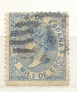 Año 1868 Edifil 97 25m Isabel II      Matasellos  Rejilla - 1850-68 Kingdom: Isabella II