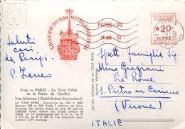 25765 FRANCE,red Meter/freistempel/ema/ 1960 Paris  Souvenir Du Sommet De La Tour Eiffel, Circulè - Marcophilie (Lettres)
