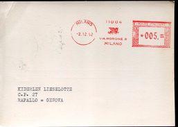 25772 Italia, Red Meter/freistempel/ema/  Milano 1952  Selezione,  Circuled Card - Affrancature Meccaniche Rosse (EMA)