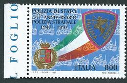 Italia, Italy 1997; Polizia Stradale, Traffic Police, Stemmi, Coats Of Arms. Di Bordo, Nuovo. - Briefmarken