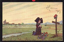 ALSACE.ILLUSTRATEUR HANSI.AUTOGRAPHE SIGNATURE 1917.ALSACIENNE.LA PRIERE DE L'ALSACE.2 SCANS. - Hansi