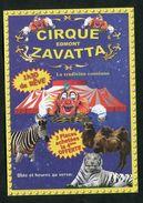 """Joli Flyer Publicitaire Cirque """"Edmont Zavatta - Pontoise"""" Val D'Oise - Clown - Tigre - Zèbre - Programs"""