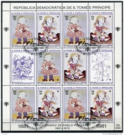 Sao Tome E Principe, 1981, Picasso, International Year Of The Child, IYC, United Nations, Cancelled Sheet, Michel 719-20 - Sao Tome Et Principe