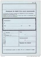 Récépissé De Dépôt D'un Envoi Recommandé - Formule 201 Avec [1] - Documents De La Poste