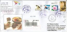 La Gastronomie Coréenne Sur Lettre Recommandée De Corée Adressée ANDORRA, Avec Timbre à Date Arrivée - Food