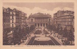 Cp , 13 , MARSEILLE , Square De La Bourse Et Monument De Pierre Puget - Canebière, Centre Ville