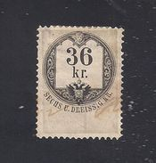 1 Austria Revenue 1866 - 36 Kr. Weißes Papier Gez. 12 + 12 1/2  - Mit WASSERZEICHEN - Steuermarken