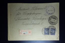 Russia: Registered Cover Moscou 1917 To Copenhagen Censor Cancel   Pair Mi 69 - Briefe U. Dokumente