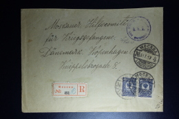 Russia: Registered Cover Moscou 1917 To Copenhagen Censor Cancel   Pair Mi 69 - 1857-1916 Empire