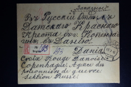 Russia: Registered Cover Regiza 1916 To Red Cross Copenhagen Censor Cancelled - Briefe U. Dokumente