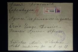 Russia: Registered Cover Moskou 1916 To Copenhagen Censor Cancelled - 1857-1916 Empire