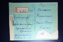 Russia: Registered Cover Lubare 1916 To Copenhagen Censor Cancelled  Strips - Briefe U. Dokumente