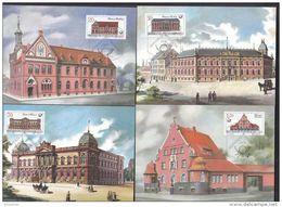 DDR 3067-3070 Auf 4 Maximumkarten MK 1-4/1987, Historische Postgebäude 1987 - DDR