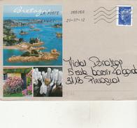 Marianne De Beaujard - Roulette N° 4573** (SV Bleu) Sur Une Lettre De Bretagne - Marcophilie (Lettres)