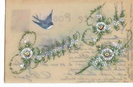 """Carte  Celluloid   -  """"  Bonne  Fete  """"    Hirondelle  Et  Fleurs - Postcards"""