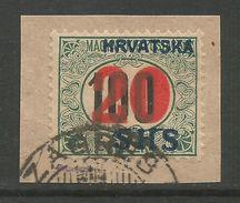 Yugoslavia Kingdom SHS Jugoslawien - Porto Stamp 100fil. Overprinted SHS Unissued Used On Piece 1918 Signed Marjanovic - Portomarken